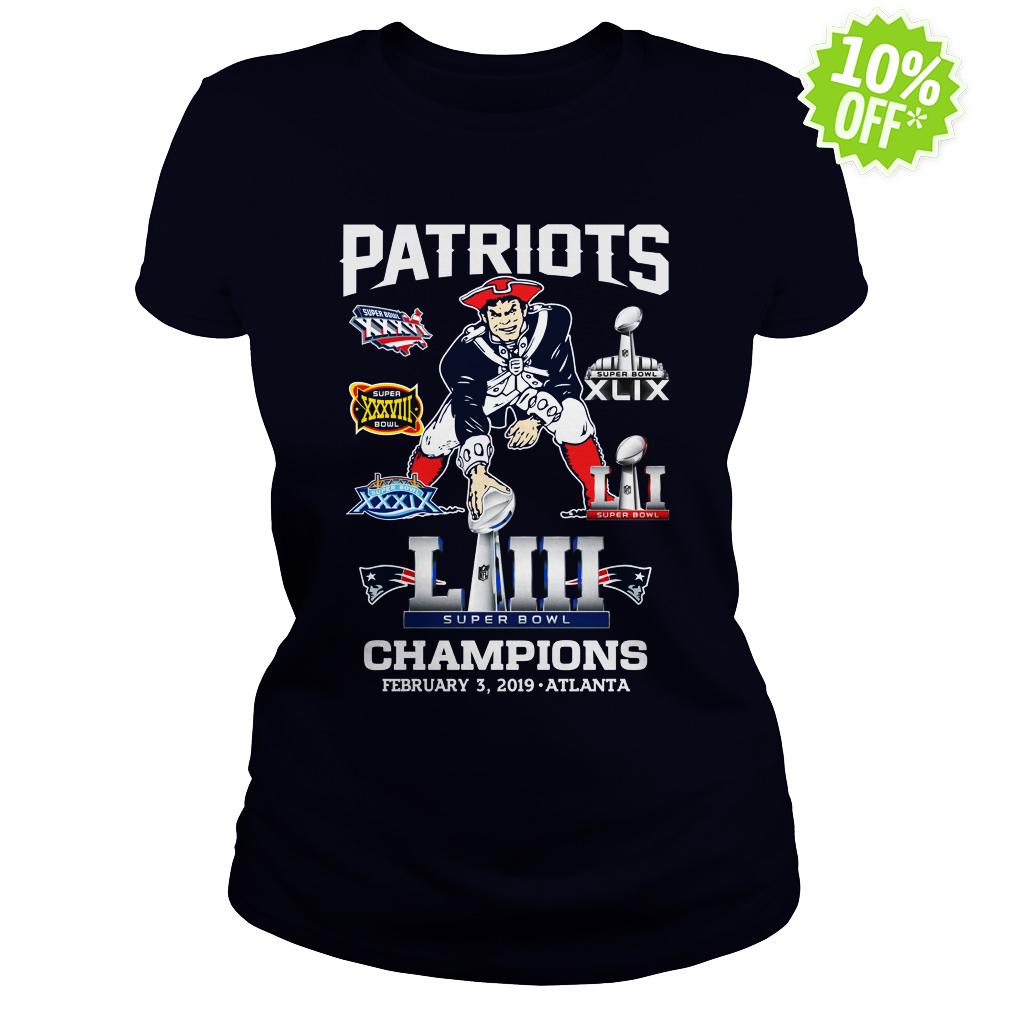 Patriots Super Bowl LIII Champions February 3 2019 Atlanta lady shirt