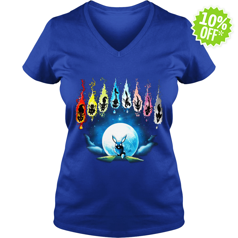 Pokemon Eevee Evolution Moon Night v-neck