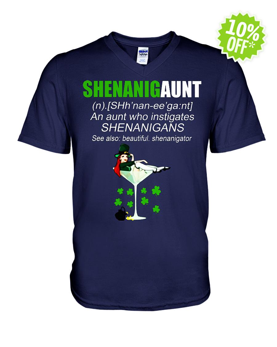 Shenanigaunt an aunt who instigates shenanigans v-neck