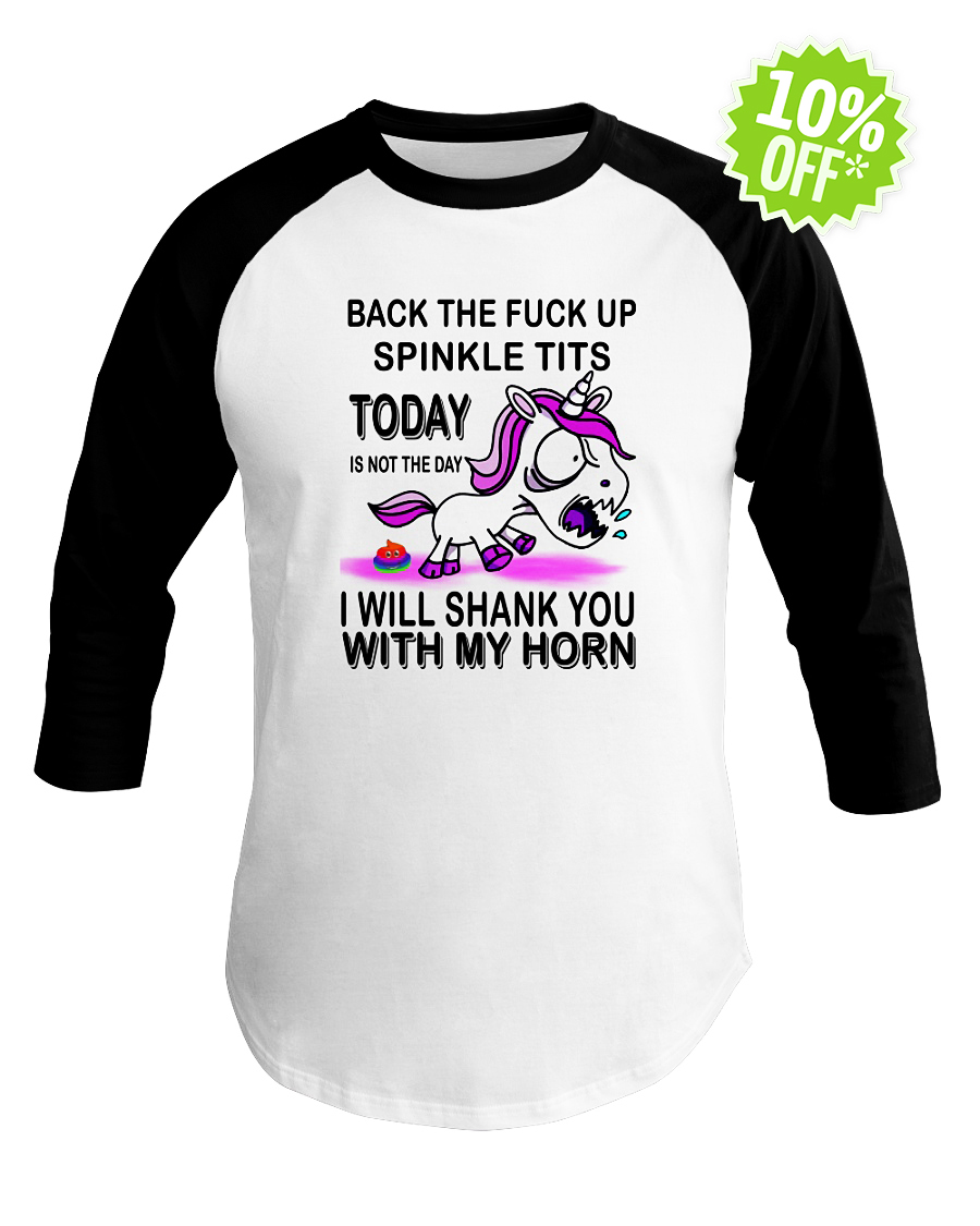 Unicorn Back the fuck up sprinkle tits baseball tee