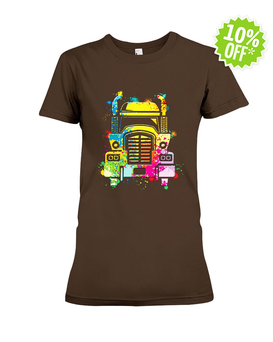 Watercolor Semi Truck lady shirt