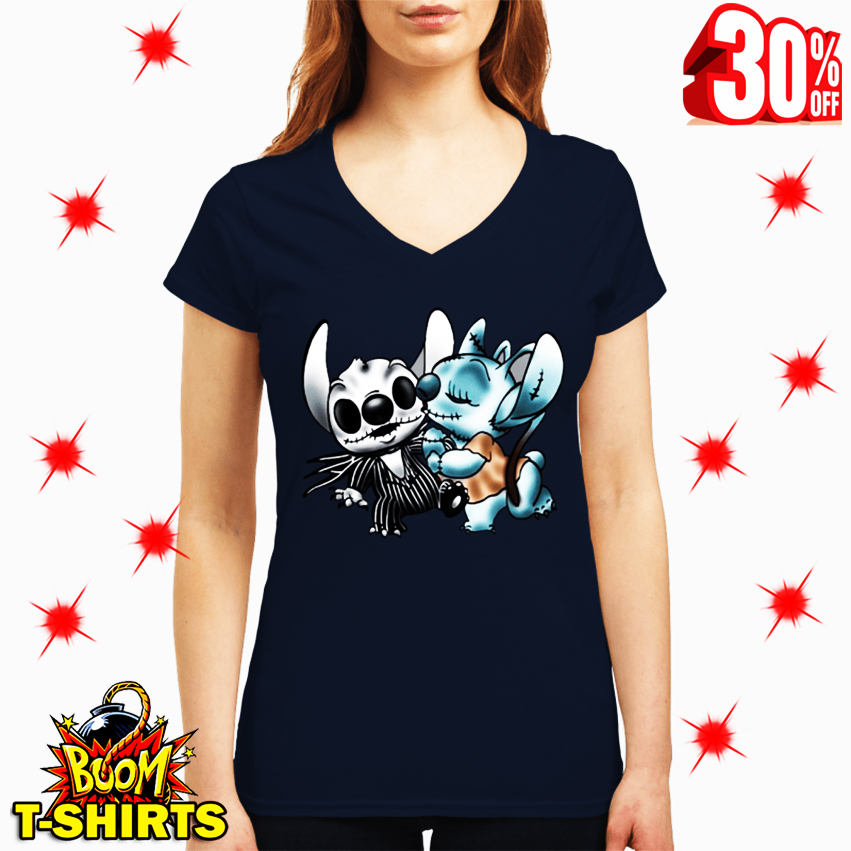 Angel Kiss Stitch The Nightmare Before Christmas v-neck