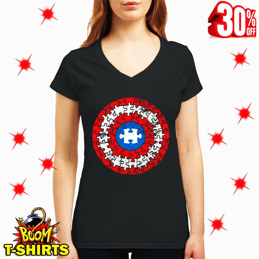 Autism Awareness Puzzle Superhero Shield v-neck