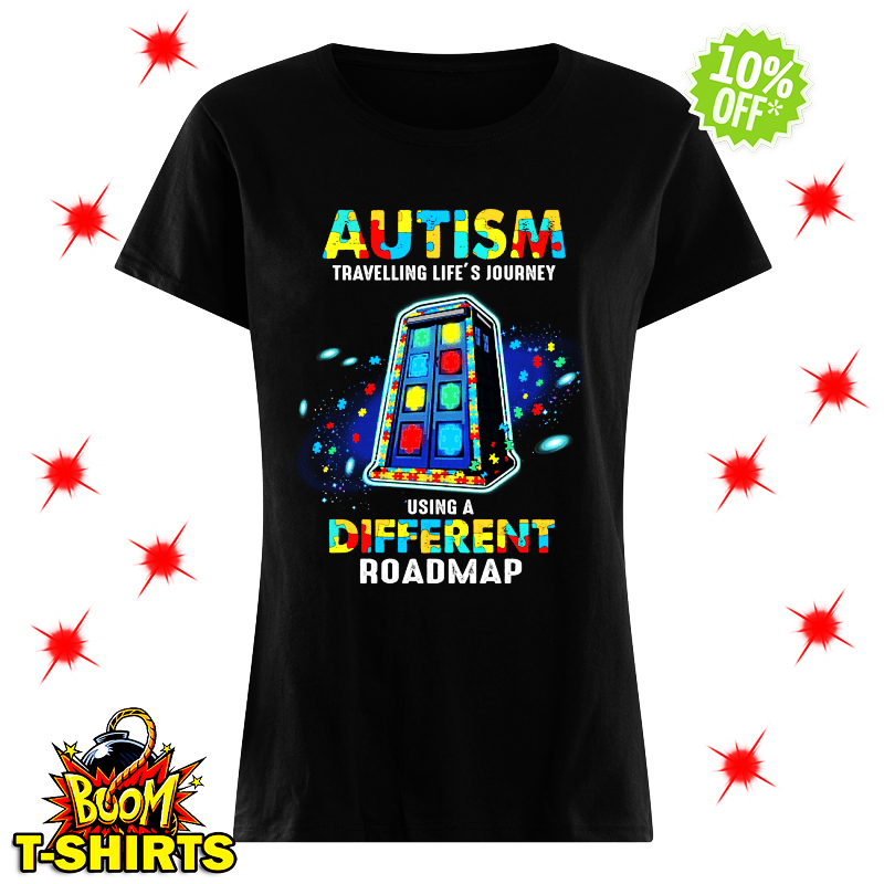 Autism travelling life's journey using a different roadmap lady shirt