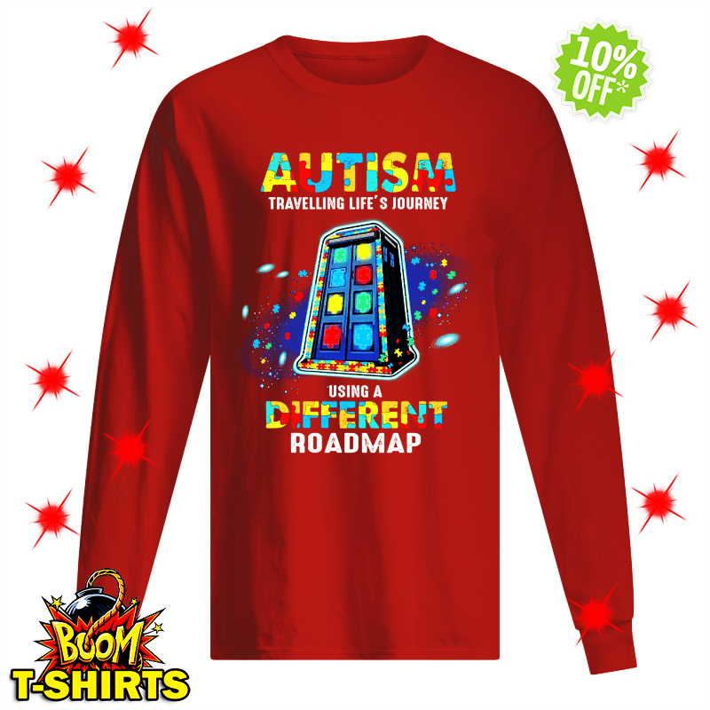 Autism travelling life's journey using a different roadmap long sleeve tee