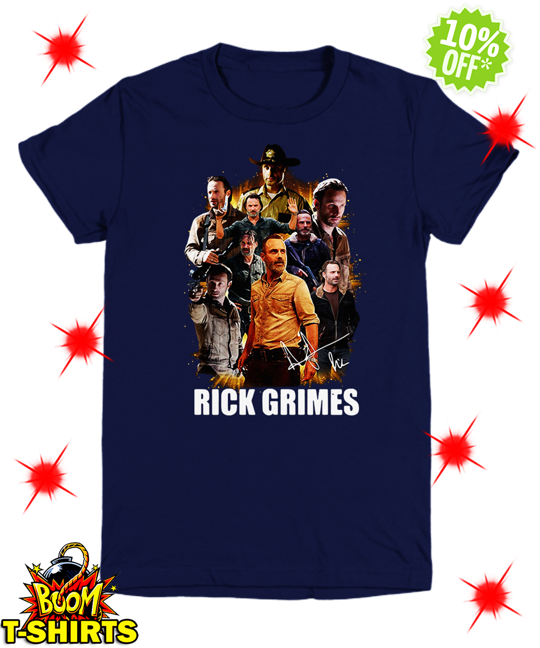 Autographed The Walking Dead Rick Grimes youth tee
