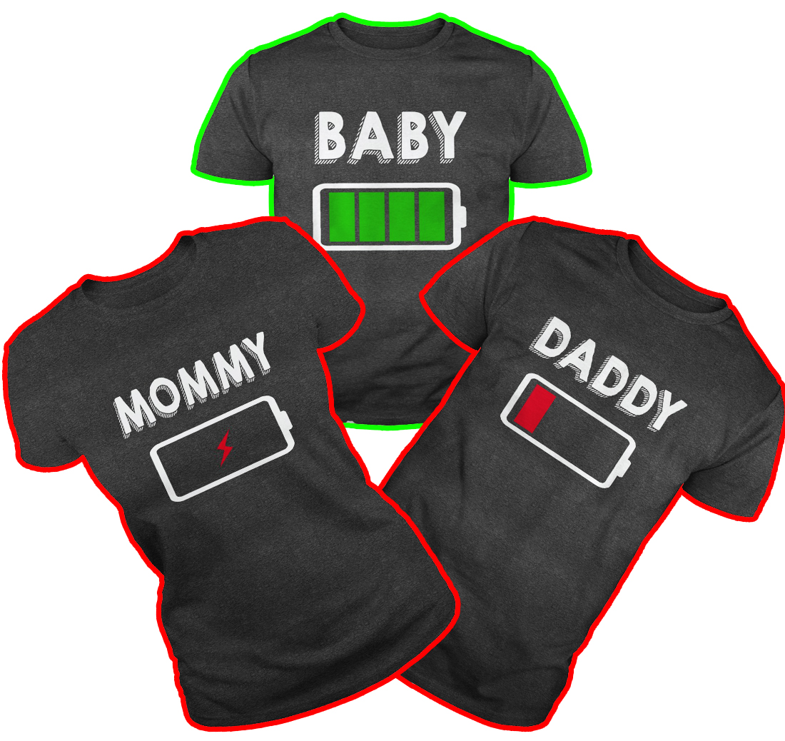 Baby Daddy Mommy Battery shirt - dark greyBaby Daddy Mommy Battery shirt - dark grey