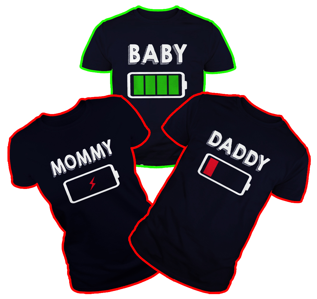 Baby Daddy Mommy Battery shirt - navy