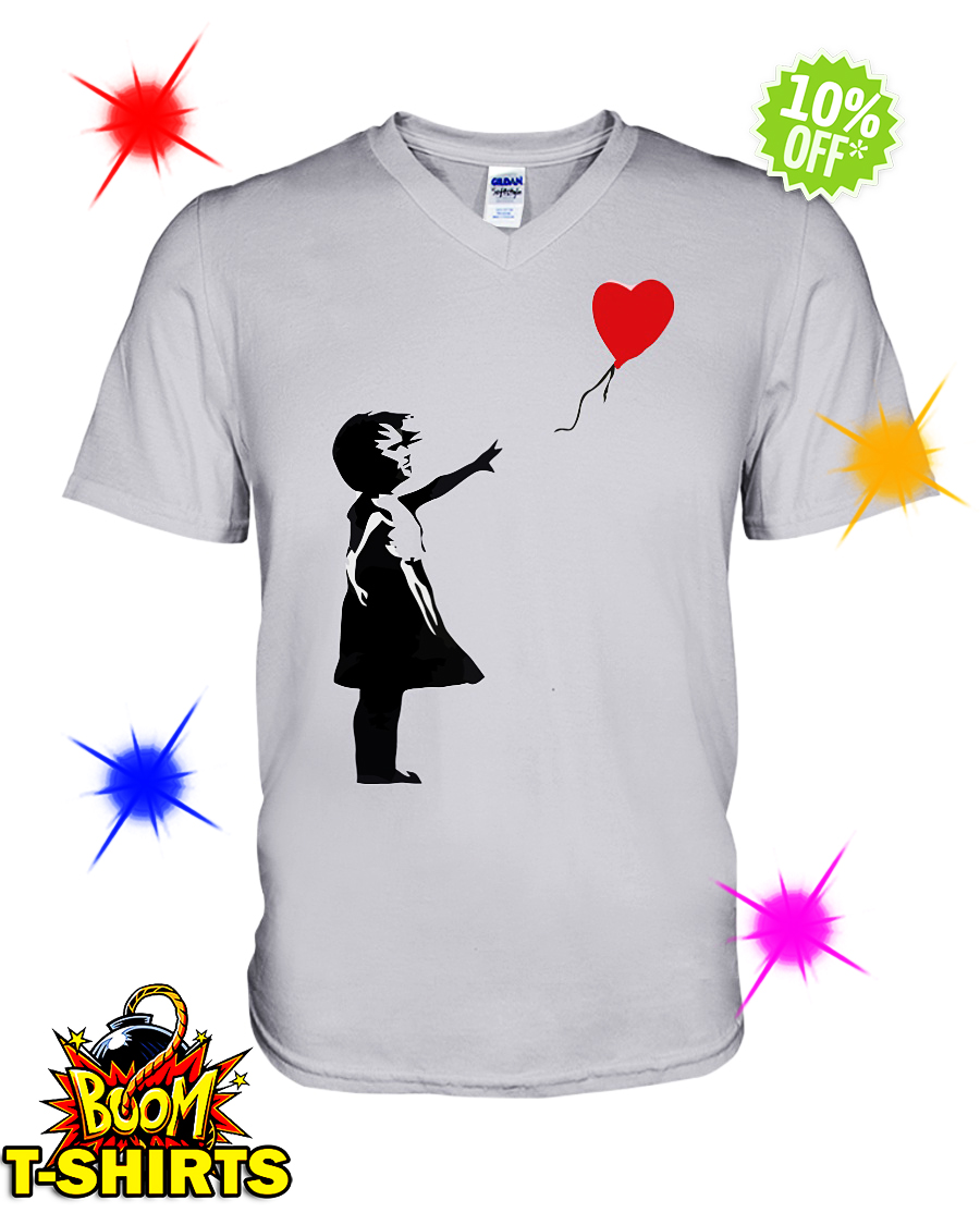 Banksy Girl Heart Balloon v-neck
