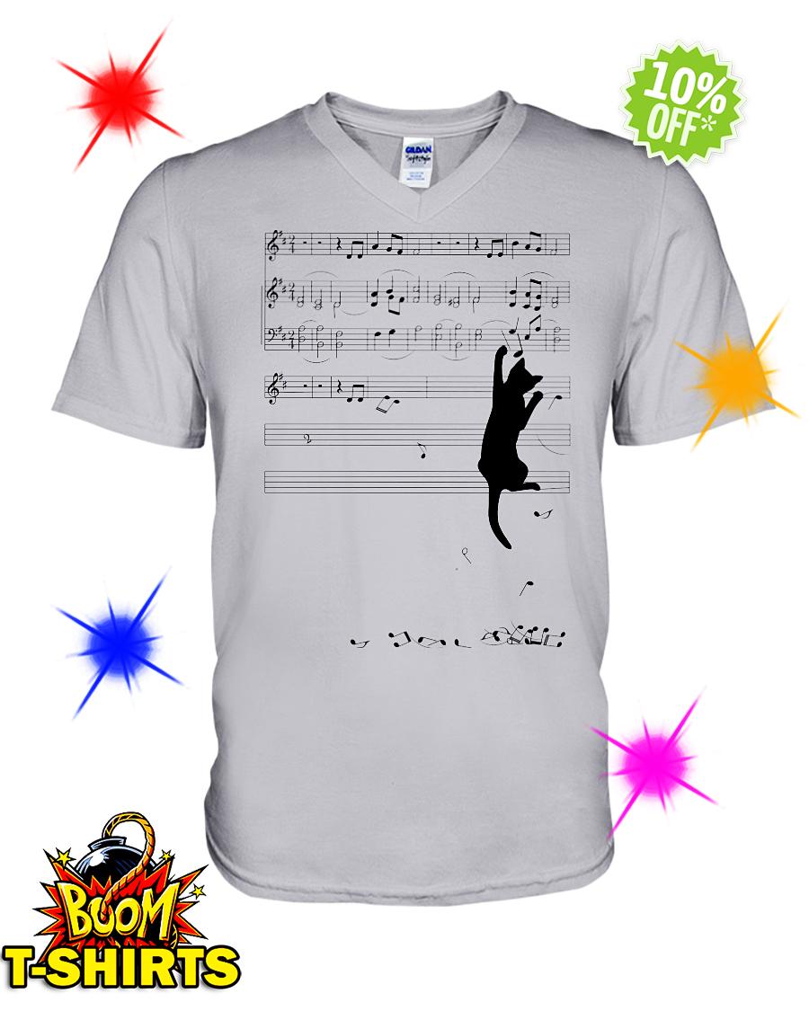 Cat mischief Music Staff v-neck