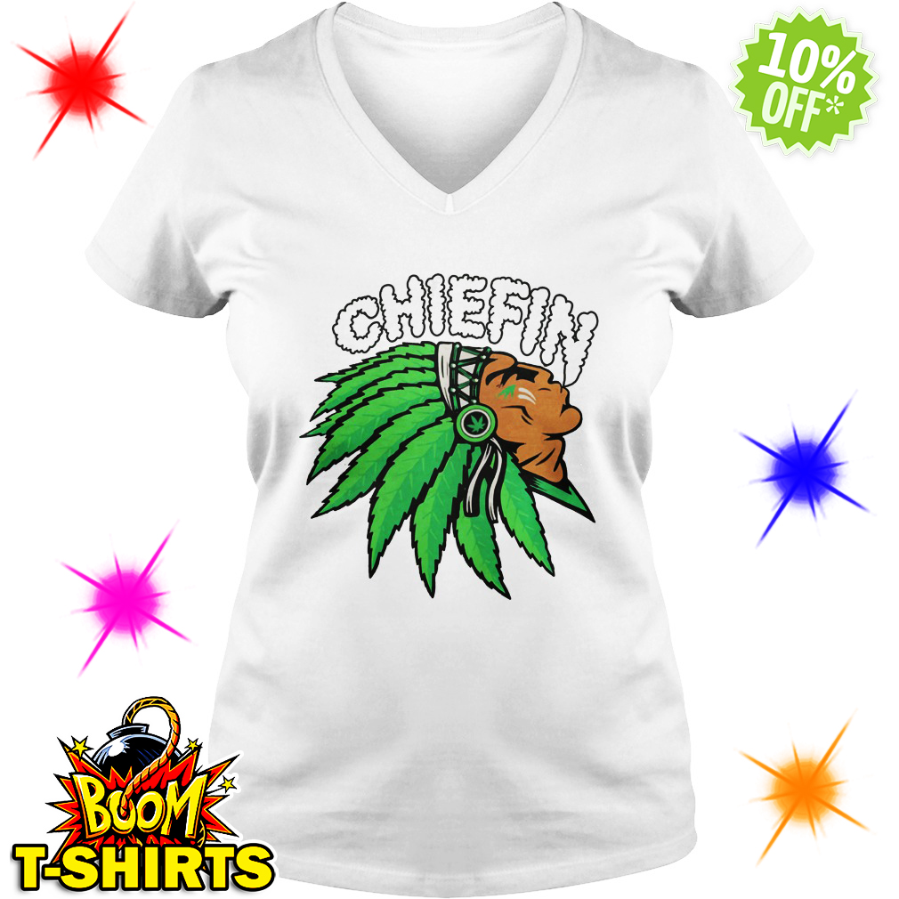 Chiefin Indian Weed Smoking v-neck