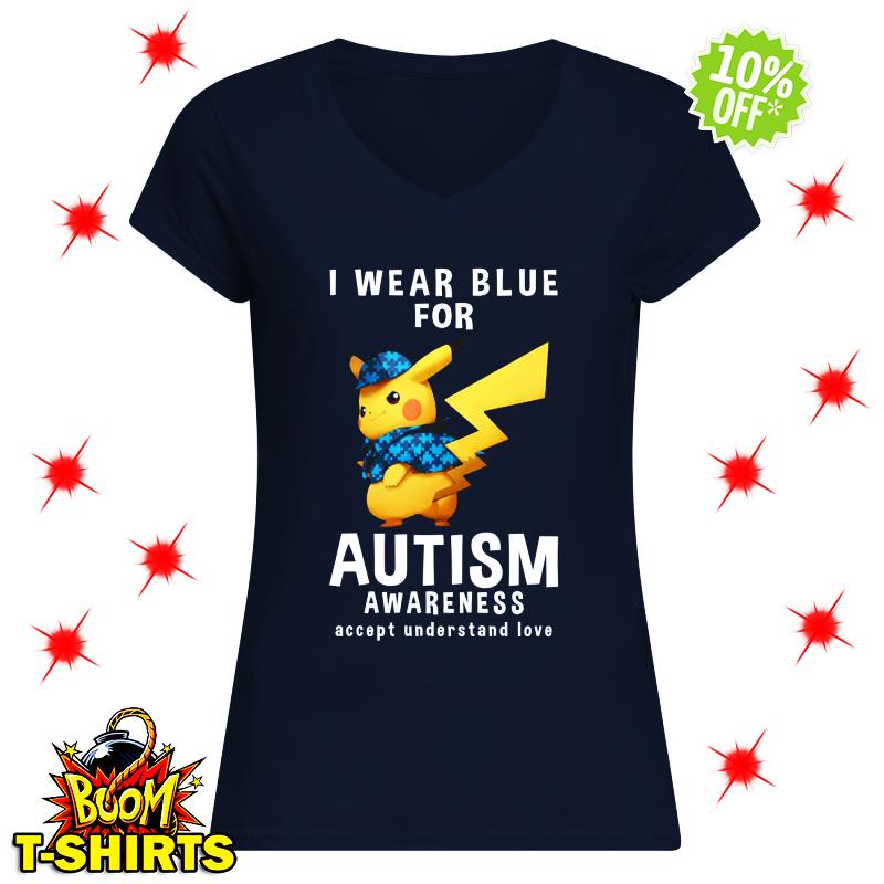 Detective Pikachu I Wear Blue For Autism Awareness Accept Understand Love v-neck