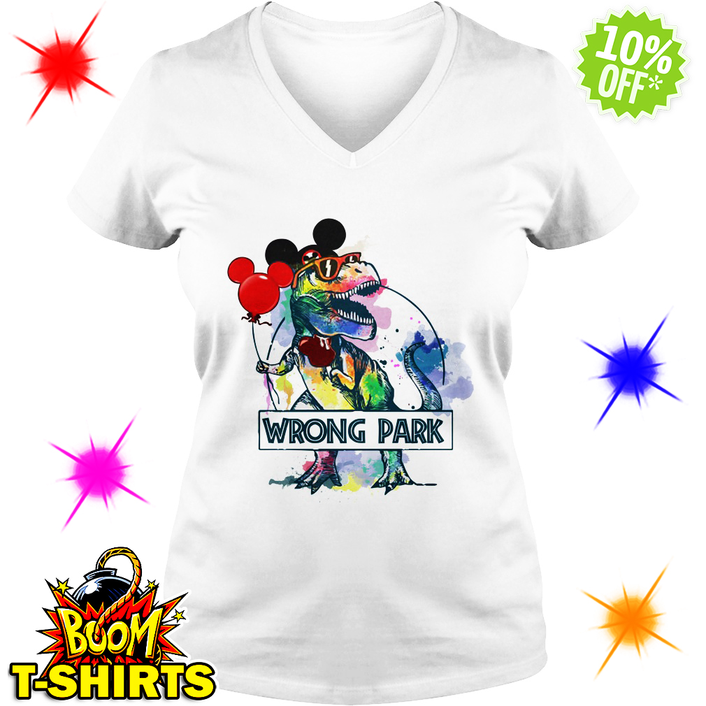 Dinosaur T-rex Mickey Mouse Disney wrong Park v-neck