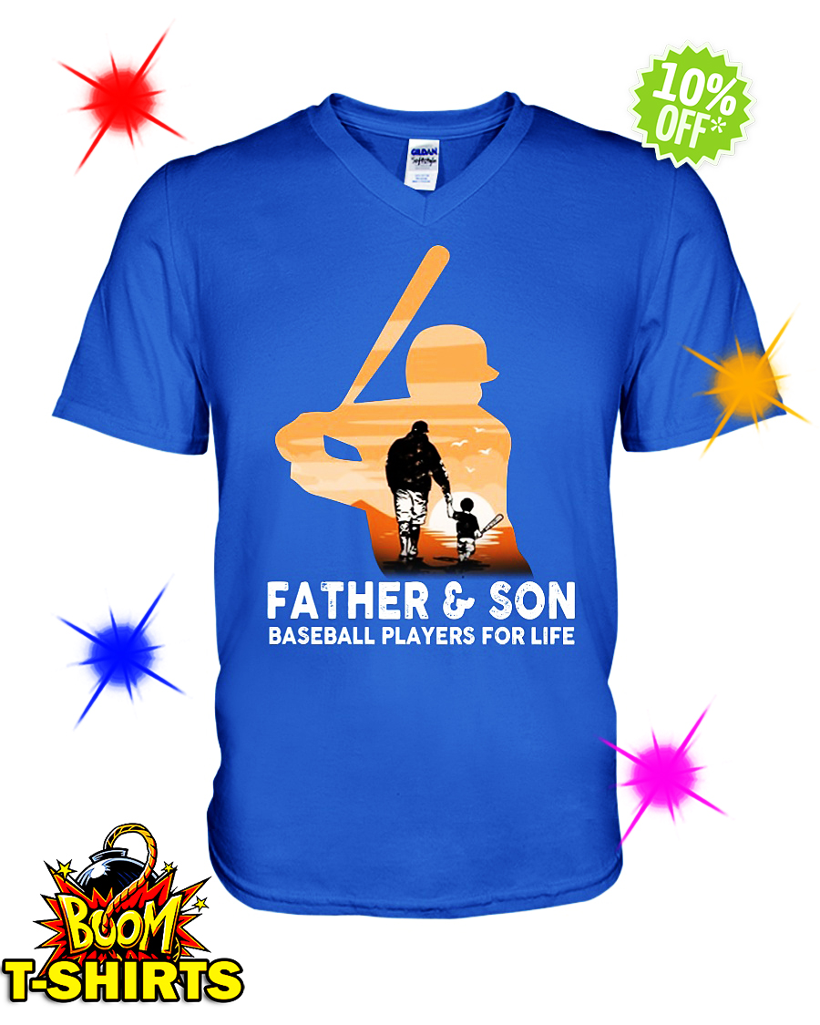 Father and son baseball players for life v-neck