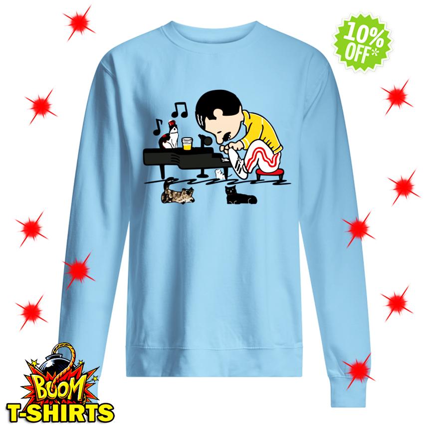 Freddie Mercury Peanuts Playing Piano and his Cats sweatshirt