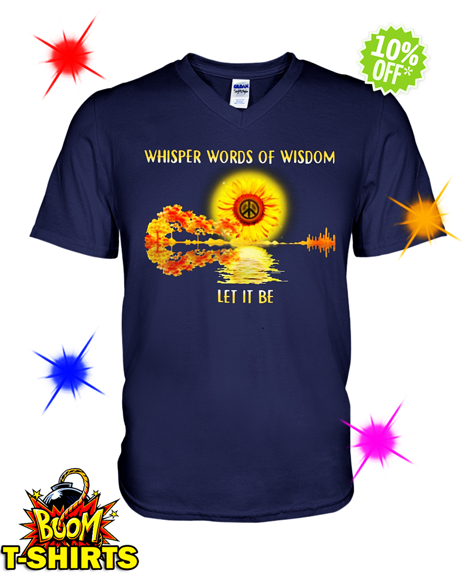 Guitar Sunflower Whisper Words Of Wisdom Let It Be v-neck