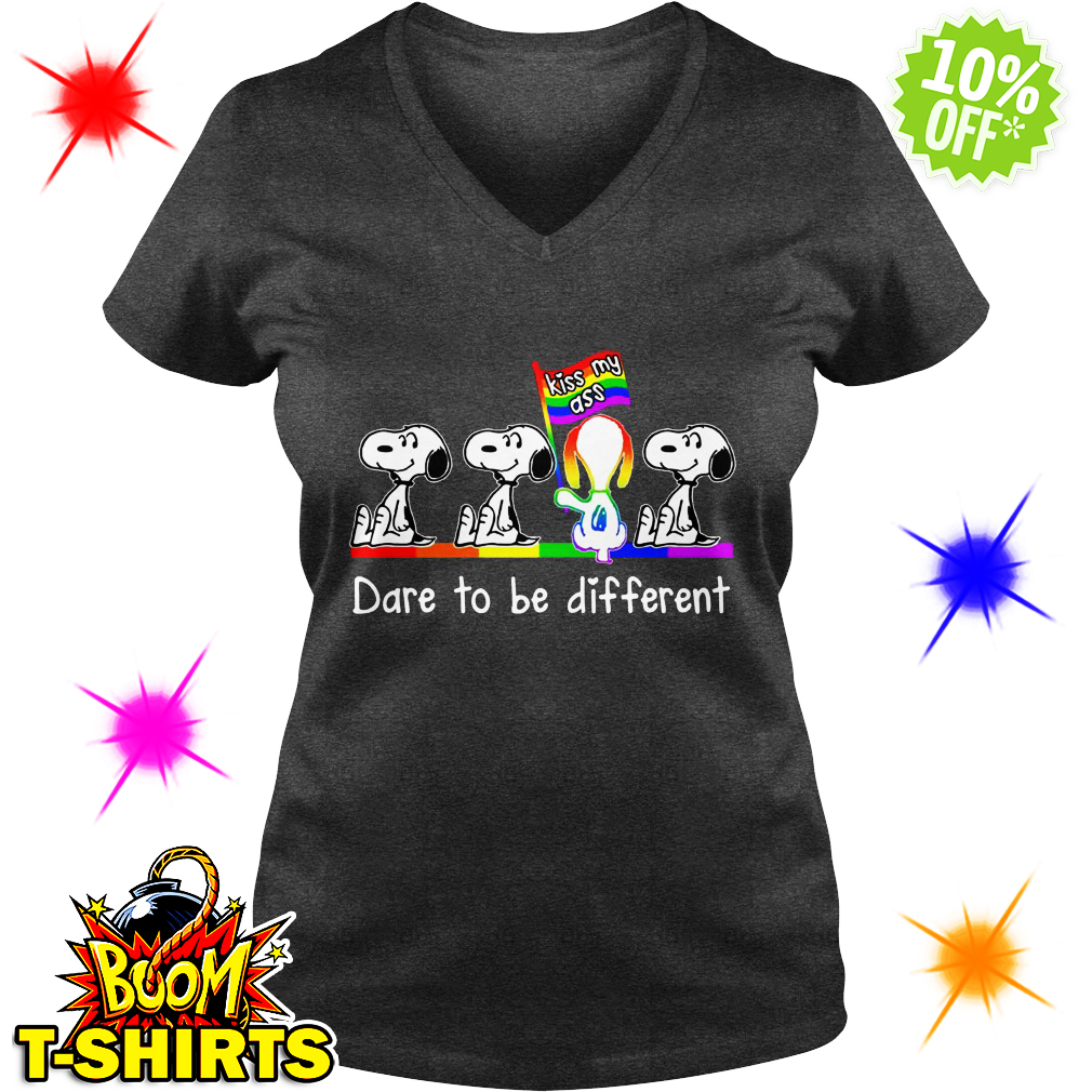 LGBT Snoopy Kiss my ass Dare to be different v-neck