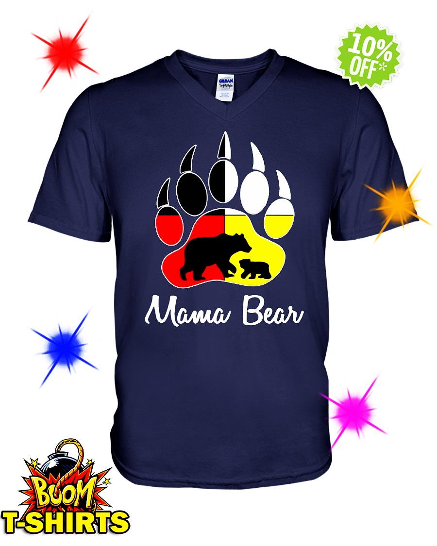 Mama bear Native American Flags v-neck