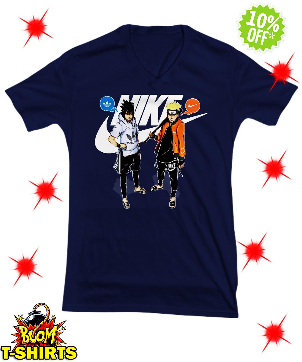 Naruto Nike and Sasuke Adidas v-neck