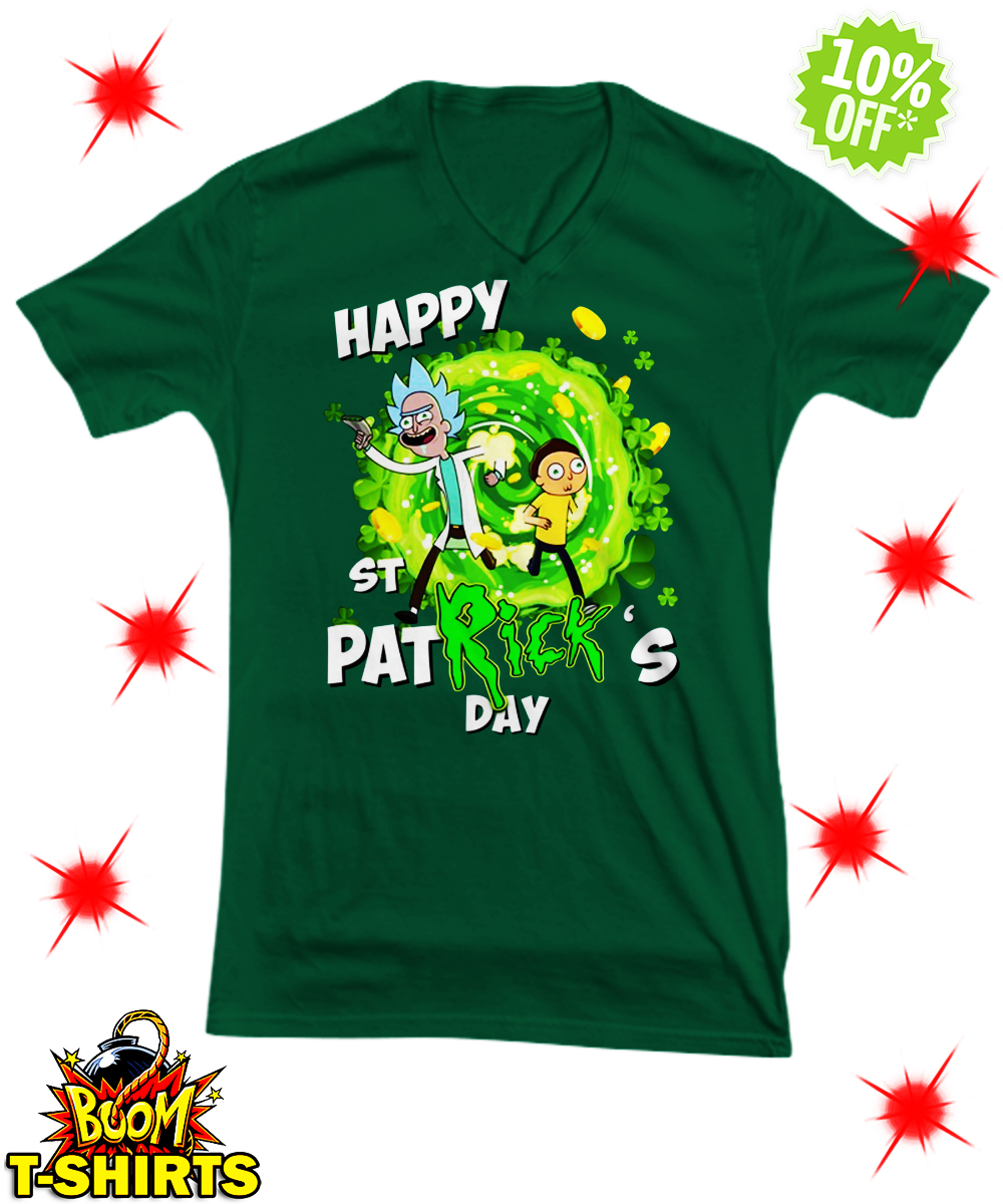 Rick and Morty Happy St Patrick's day v-neck