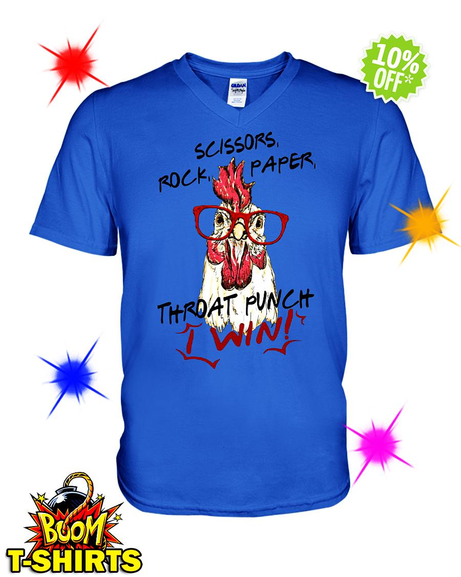 Rooster Chicken glasses Scissors rock paper throat punch I win v-neck