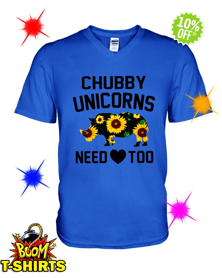 Sunflower Chubby Unicorns Need Love Too v-neck