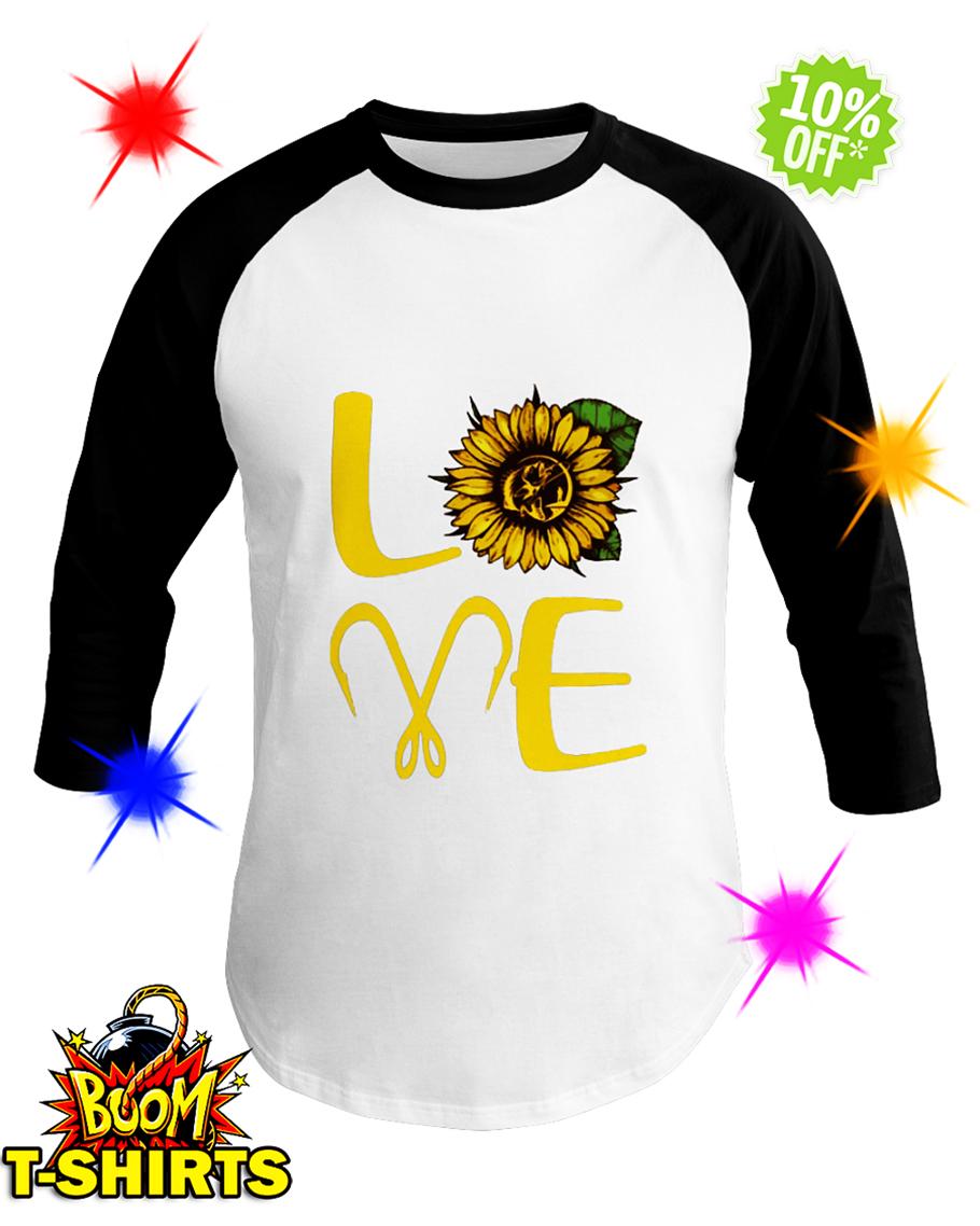 Sunflower Love Fishing baseball tee