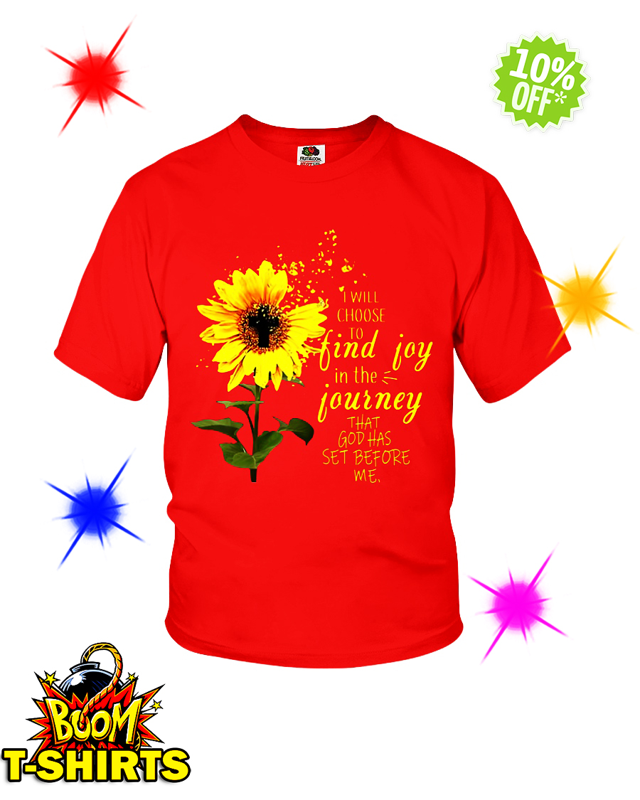 Sunflower cross I will choose to find joy in the journey that God has set before me youth tee