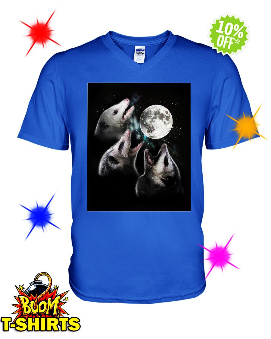Three opossum moon v-neck
