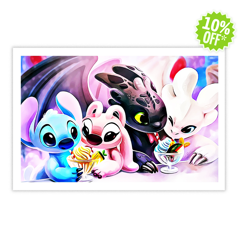 Toothless and Stitch with girlfriend eating ice cream 24x16 posters