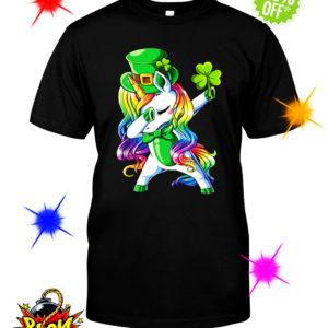 Unicorn dabbing irish shamrock shirt