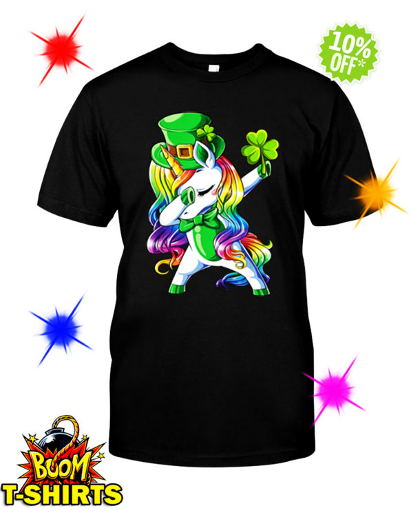 Unicorn dabbing irish shamrock shirt