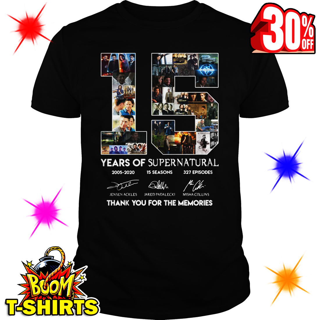 15 Years Of Supernatural 2005 2020 15 Seasons 327 EpisodesThank You For The Memories shirt