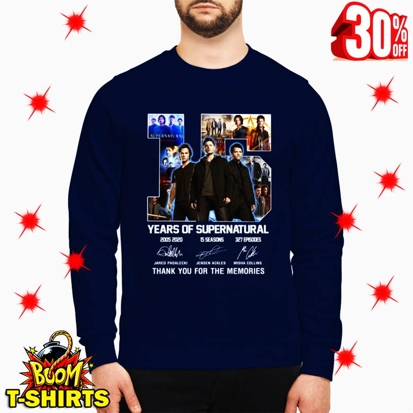 15 Years Of Supernatural Thank You For The Memories Signature sweatshirt