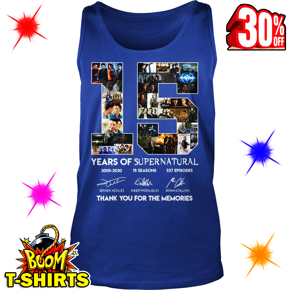 15 Years Of Supernatural Thank You For The Memories tank top