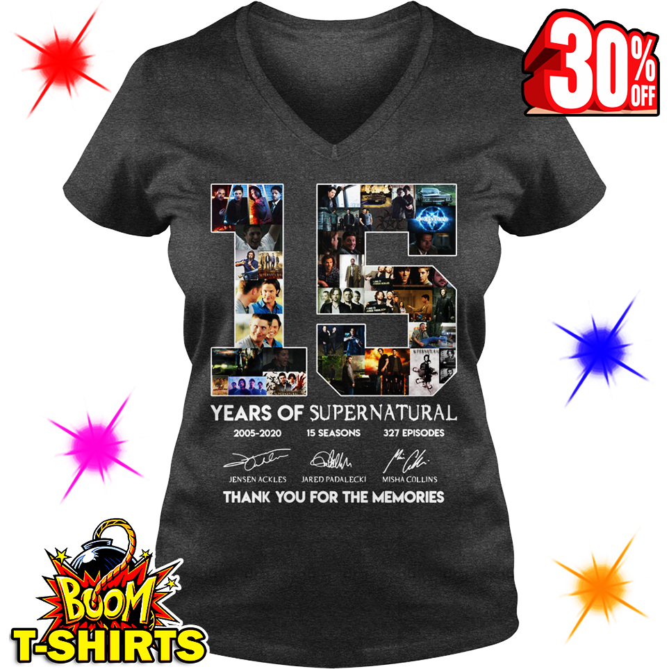 15 Years Of Supernatural Thank You For The Memories v-neck