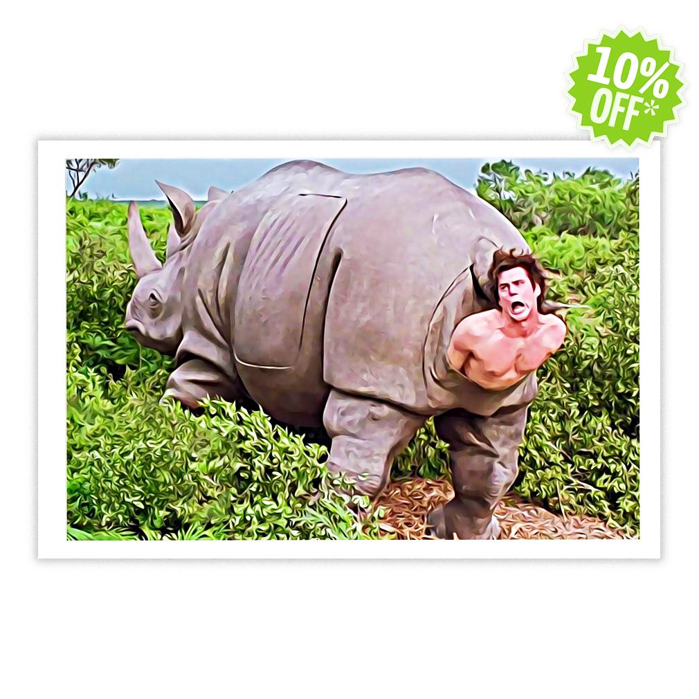 Ace Ventura Rhino Scene 17x11 Poster