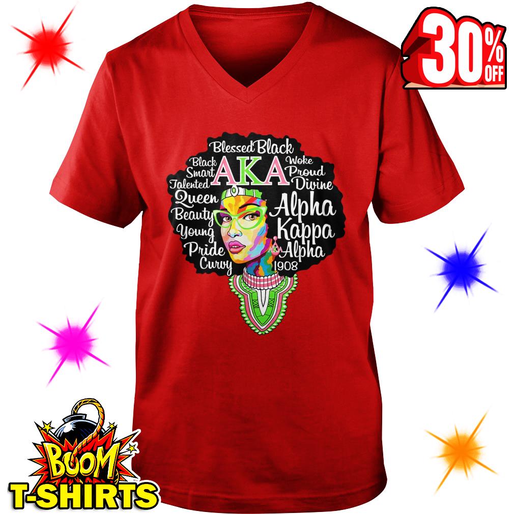 Alpha Kappa Alpha 1908 AKA Blessed Black v-neck
