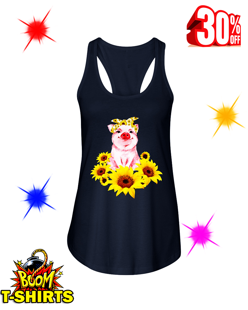Cute Pig With Sunflowers flowy tank