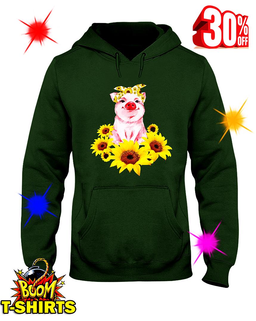 Cute Pig With Sunflowers hooded sweatshirt