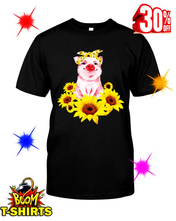 Cute Pig With Sunflowers shirt