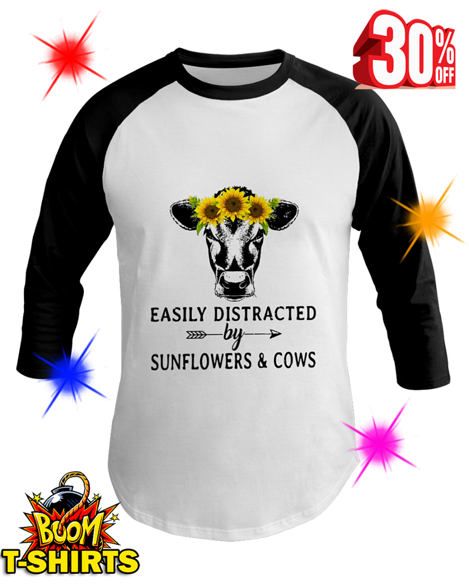 Easily Distracted By Sunflower And Cows basesball tee