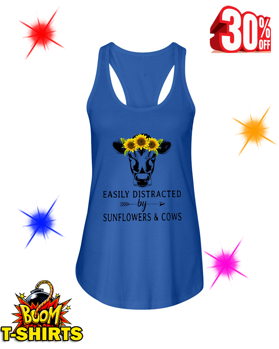 Easily Distracted By Sunflower And Cows flowy tank
