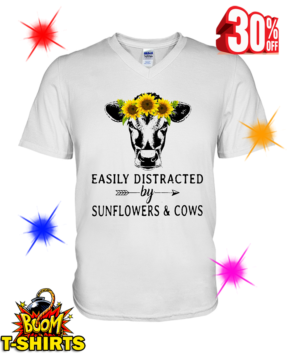 Easily Distracted By Sunflower And Cows v-neck