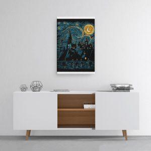 Harry Potter Van Gogh Hogwarts Starry Night Canvas