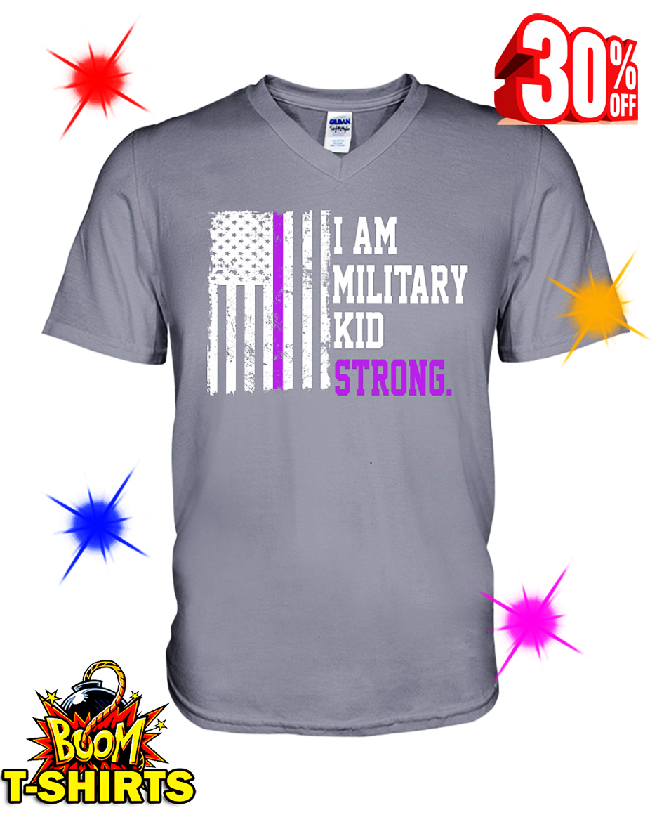I Am Military Kid Strong American Flag v-neck