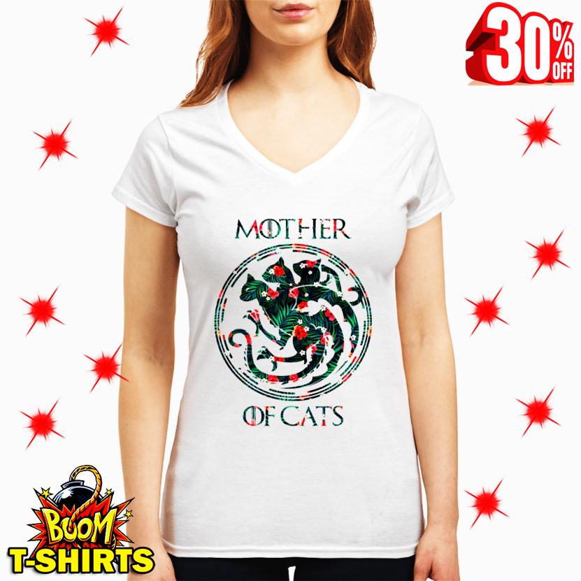 Mother Of Cats Floral v-neck