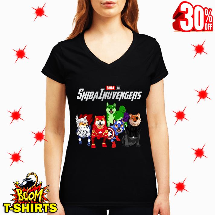 Shiba Inu Shibainuvengers Avengers v-neck