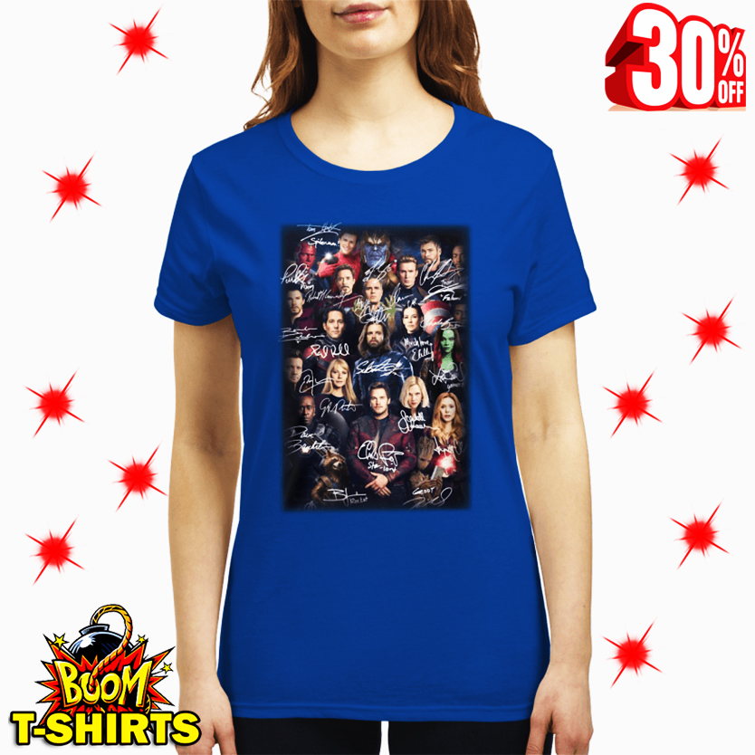 Spider Man Selfie with Avenger Endgame Marvel Characters Signatures lady shirt