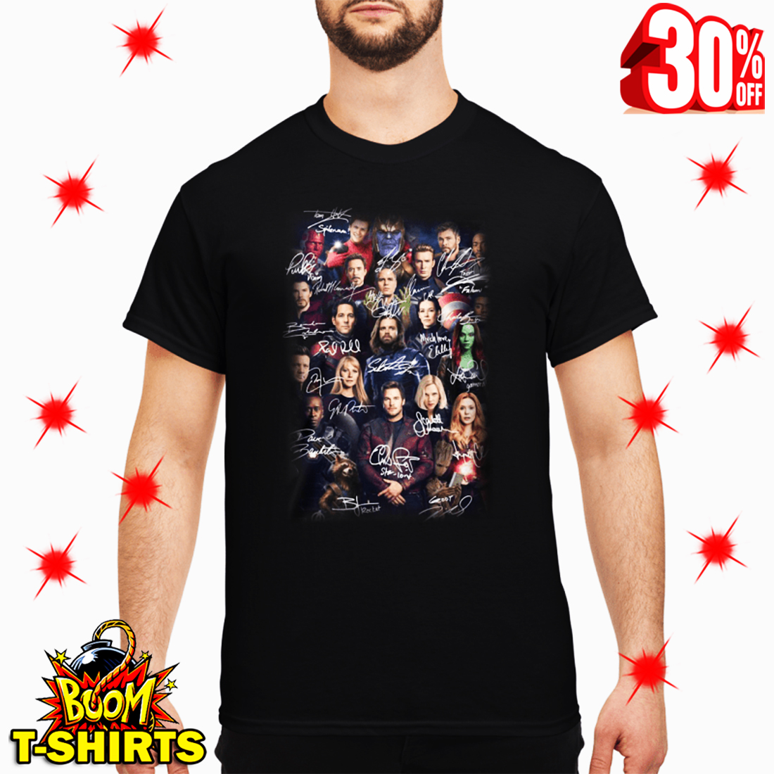 188479f9 Spider Man Selfie with Avenger Endgame Marvel Characters Signatures shirt
